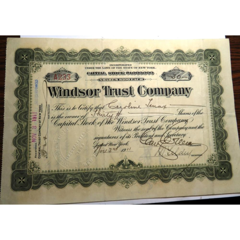 1911 Windsor Trust Stock Certificate w/stamps