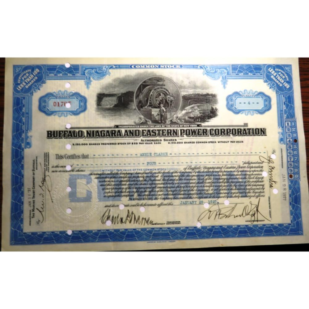 Buffalo Niagra Power Co. Stock Certificate 1927