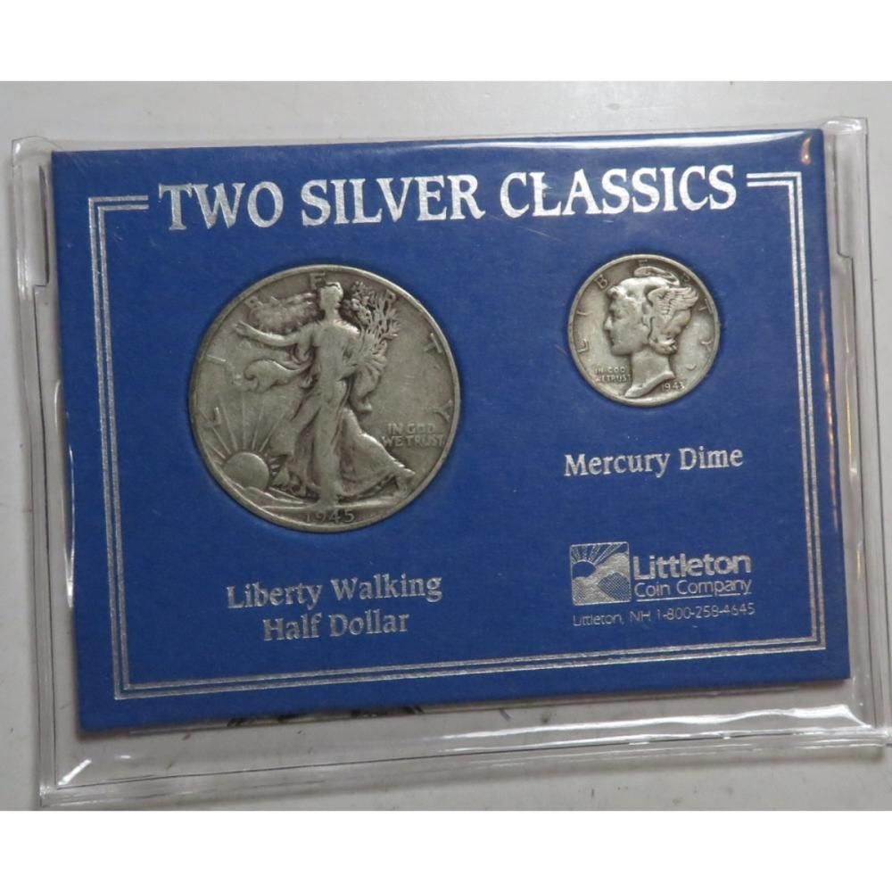 90% Silver Walking Liberty 50c-Mercury Dime Set