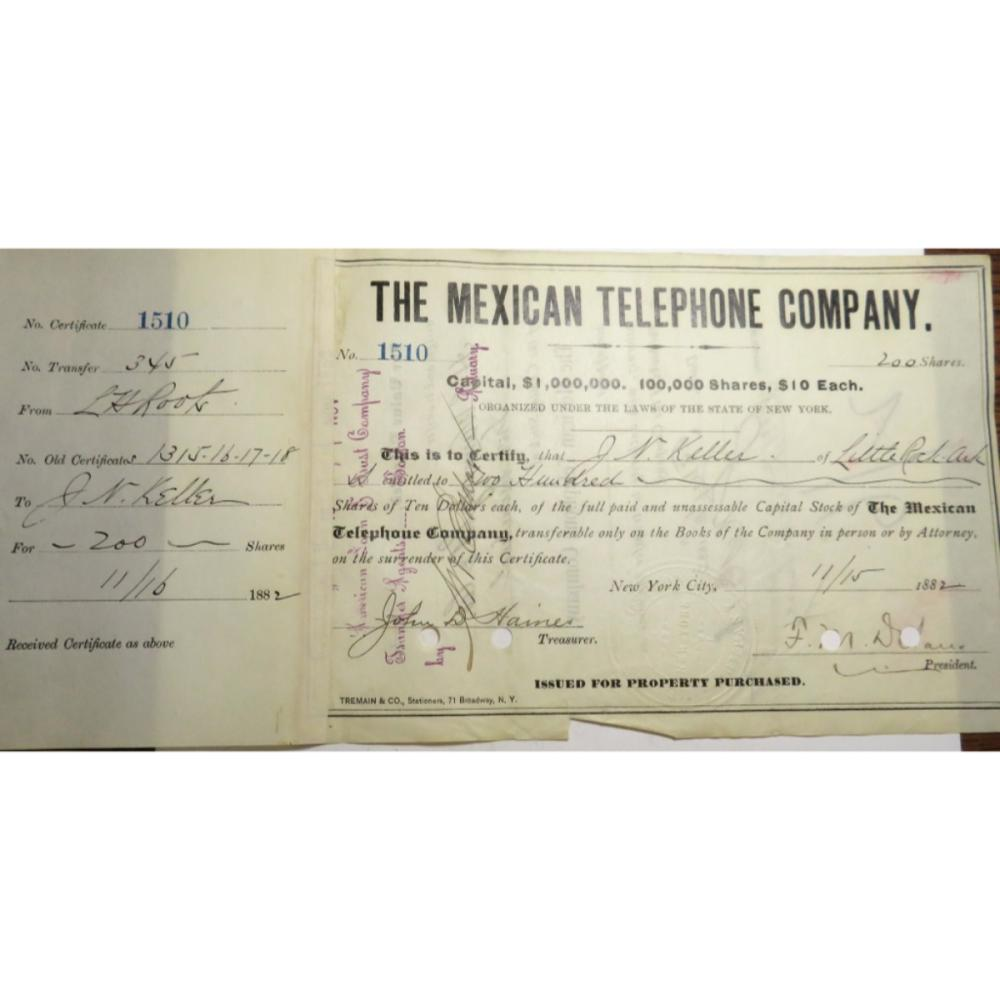 1882 Mexico Telephone Co. Stock Voucher