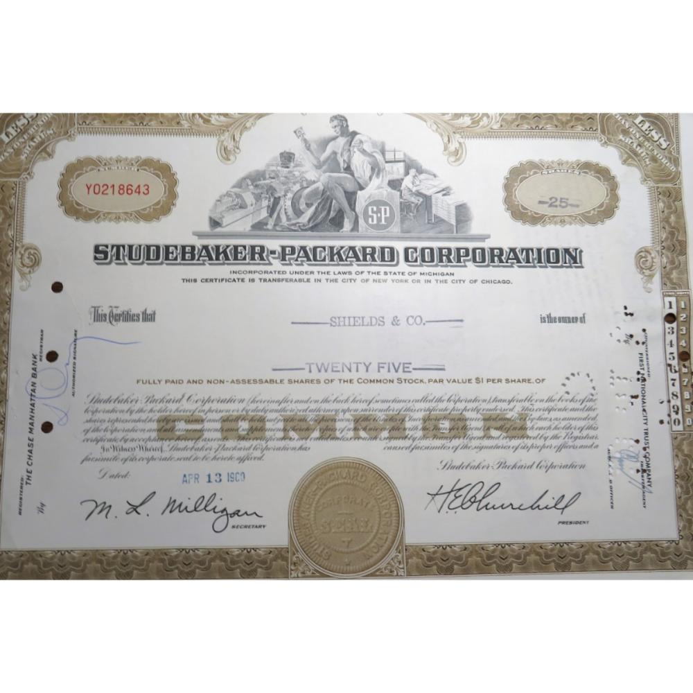 1960 Packard Automobile Stock Certificate
