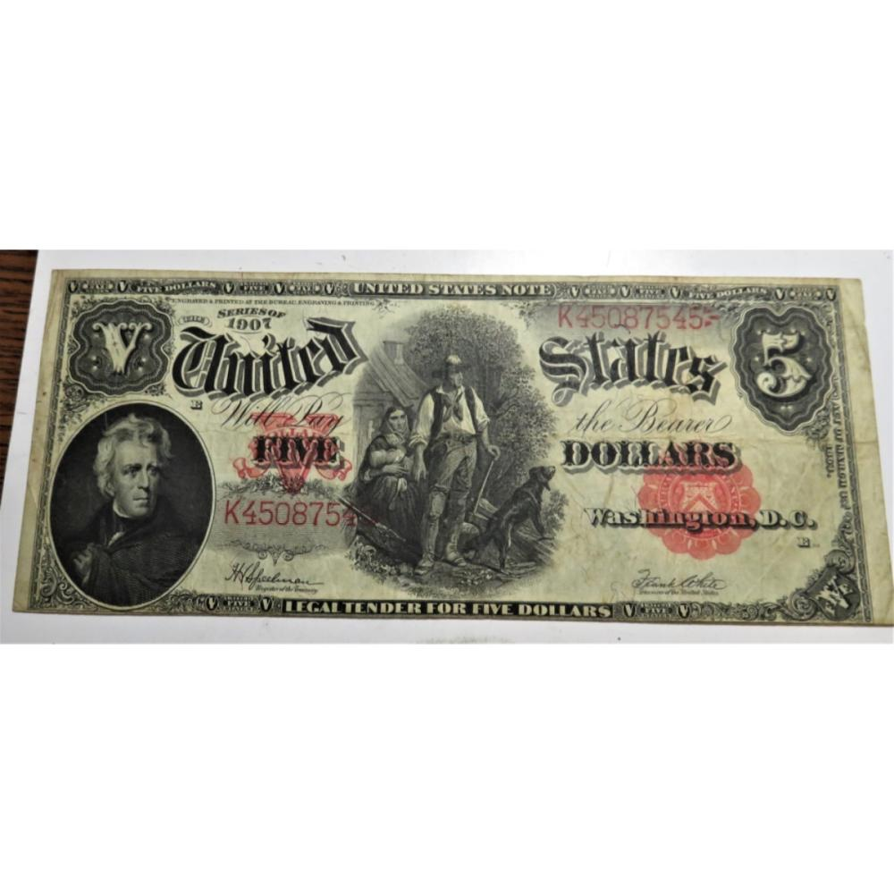 1907 Horseblanket Size $5 Lumberjack Currency