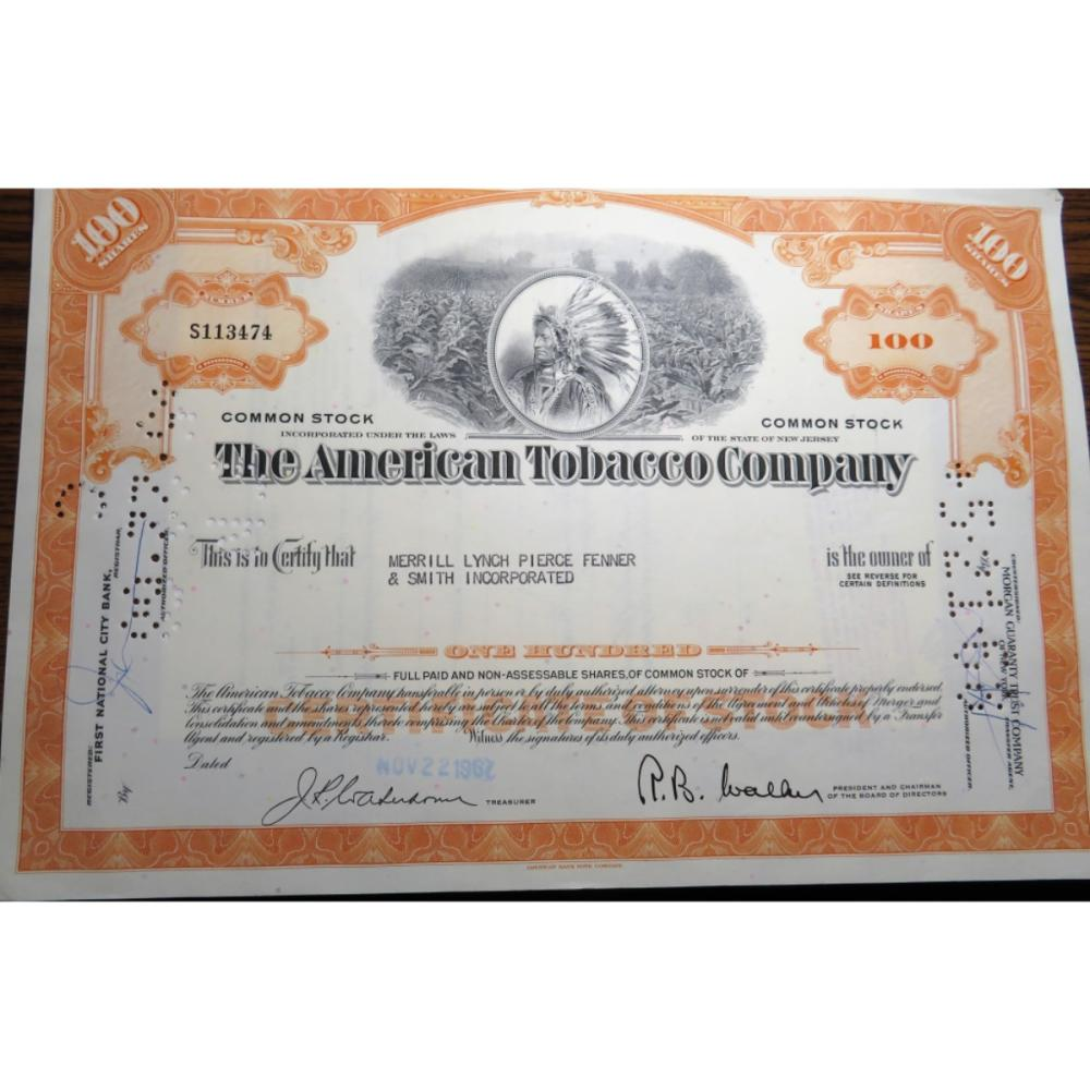 1967 American Tobacco Co. Indian Head Stock