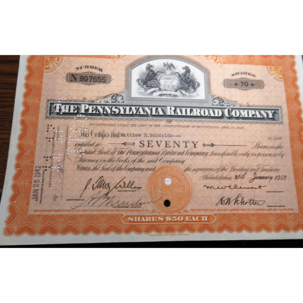 1942 Pennsylvania Railroad Stock Certificate