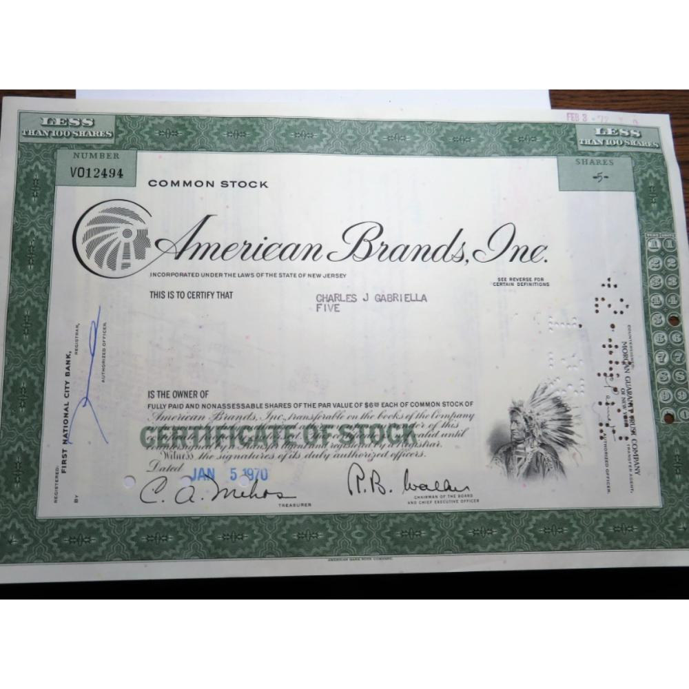 1970 American Brands Indian Head Stock Certificate