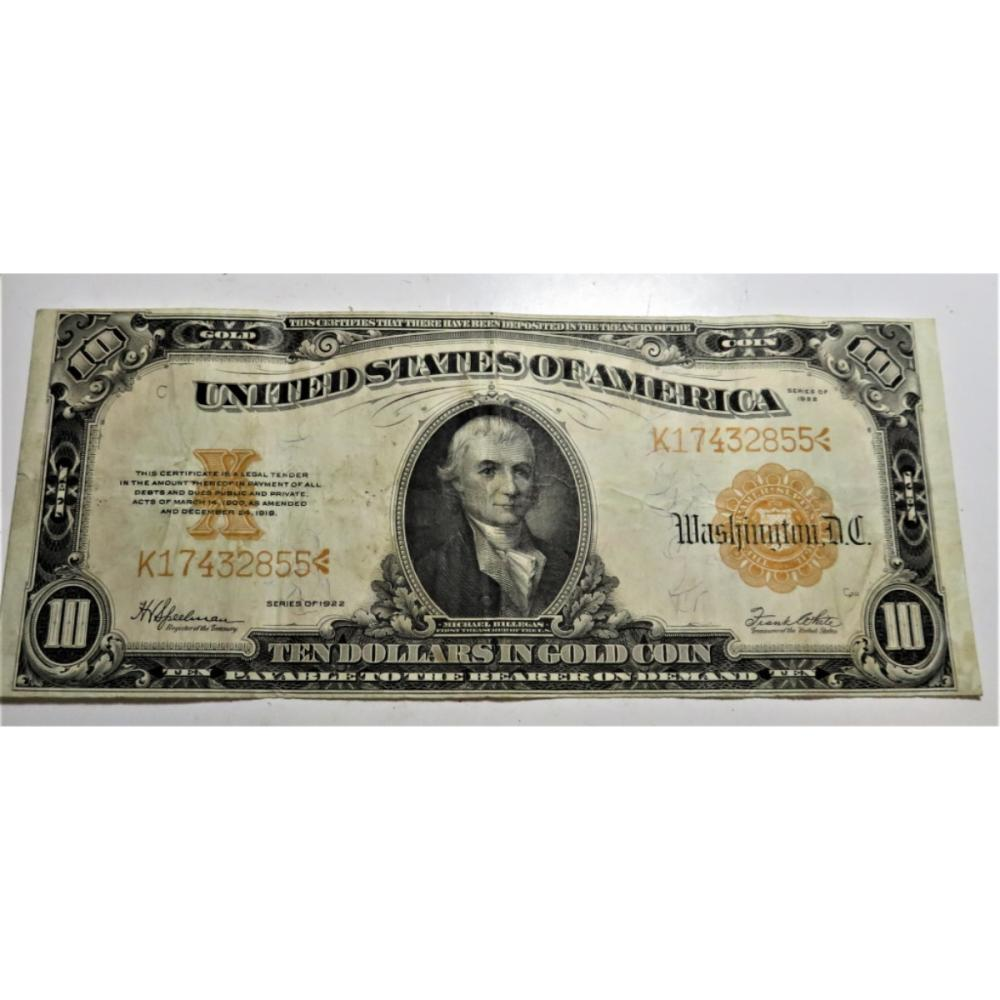 1922 VF Grade $10 Gold Certificate Currency