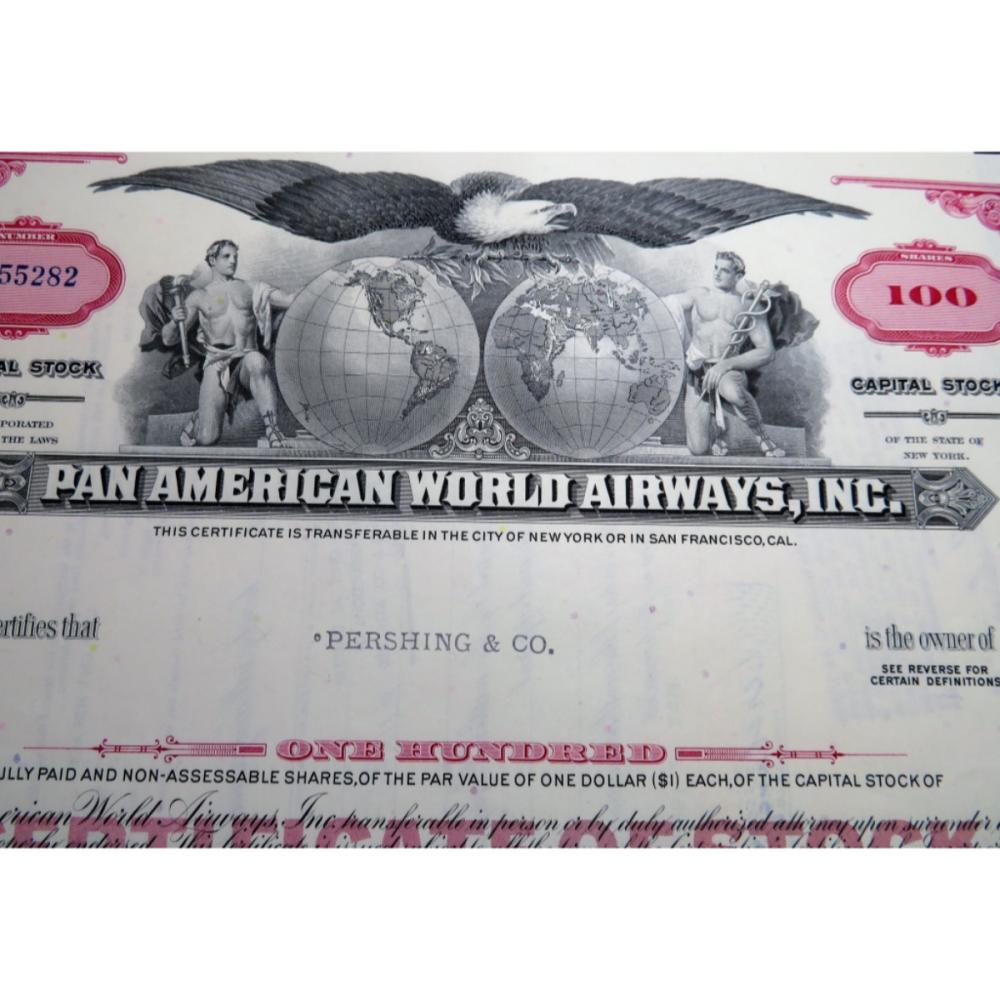 1968 Pan Am Airlines Stock Certificate