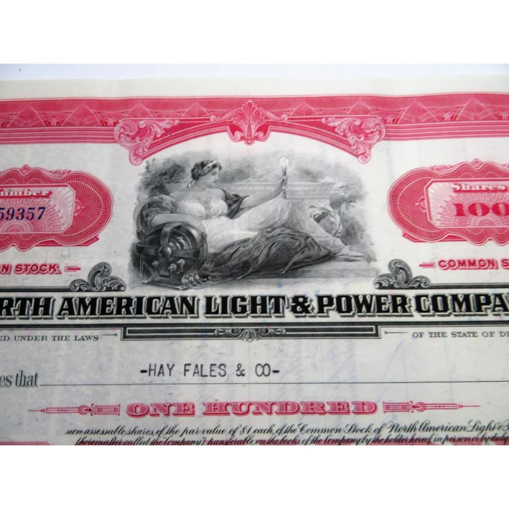 1946 North American Light Power Co. Stock Cert