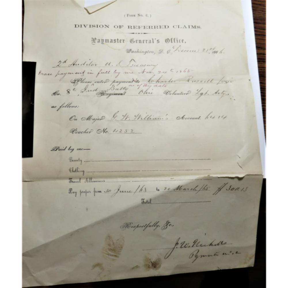 1865 US Civil War Pay Sheet w/ Tin Type of Woman