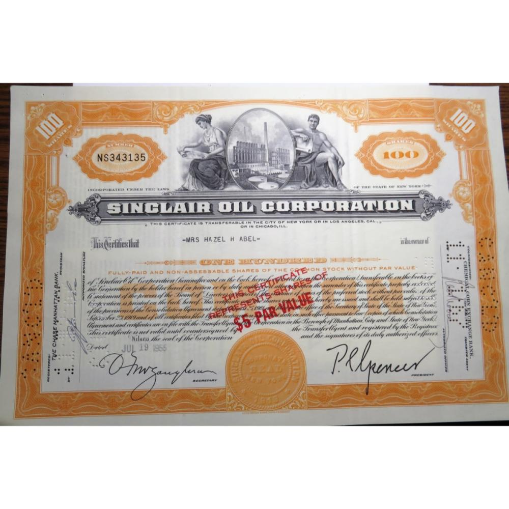 RARE 1955 SINCLAIR Oil Co. Stock Certificate
