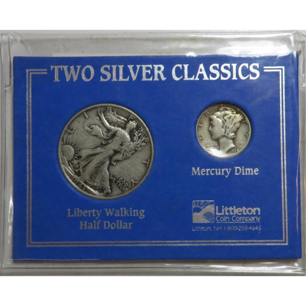 90% Silver Half Dollar and Mercury Dime