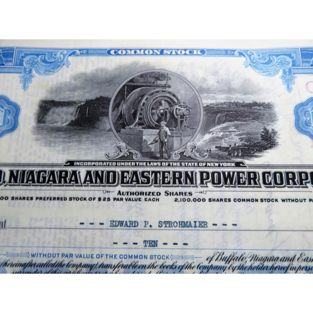 1927 Buffalo Niagra Power Co. Stock Certificate