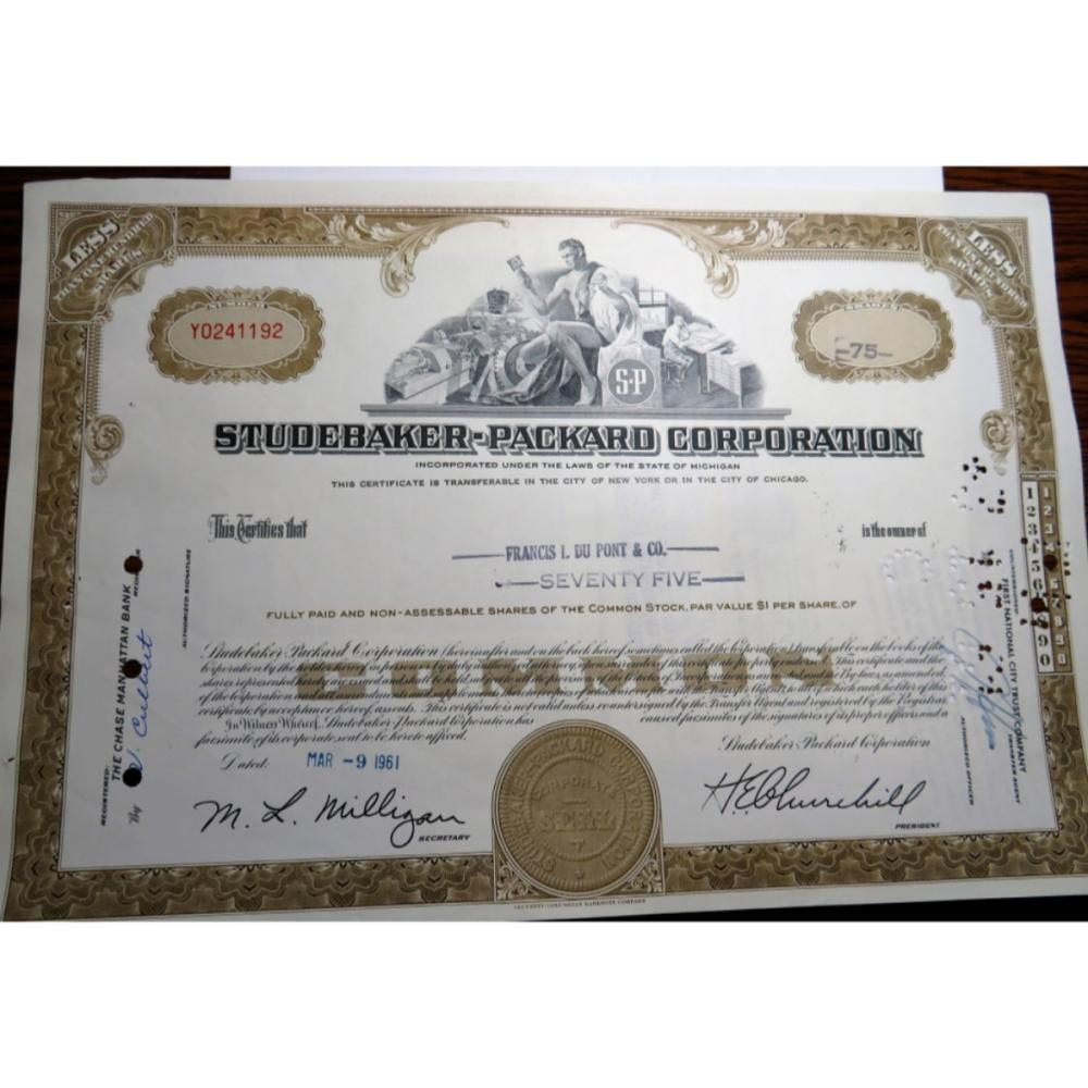 1961 Studebaker Packard Automobile Stock Cert.