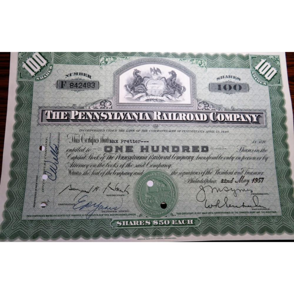 1957 Pennsylvania Railroad Stock Certificate