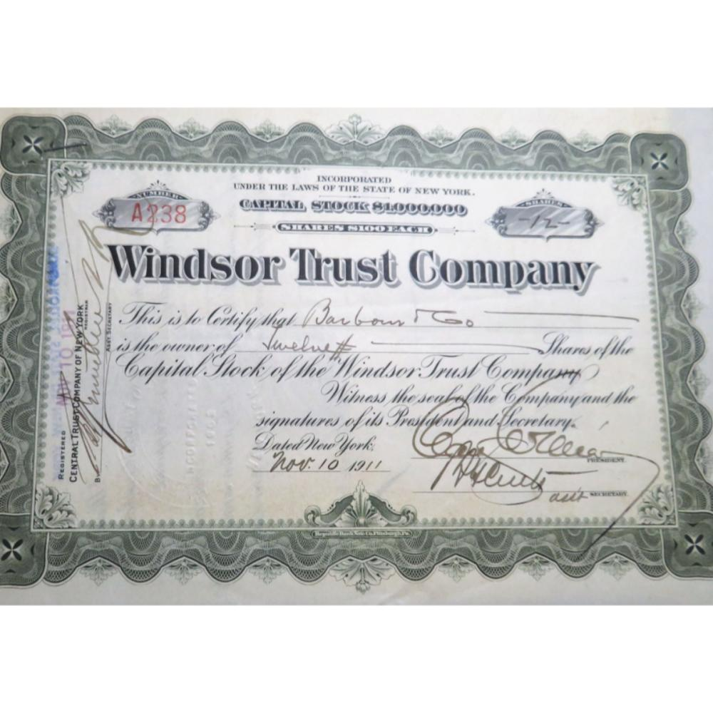 1911 Windsor Trust Stock Certificate w/stamps!