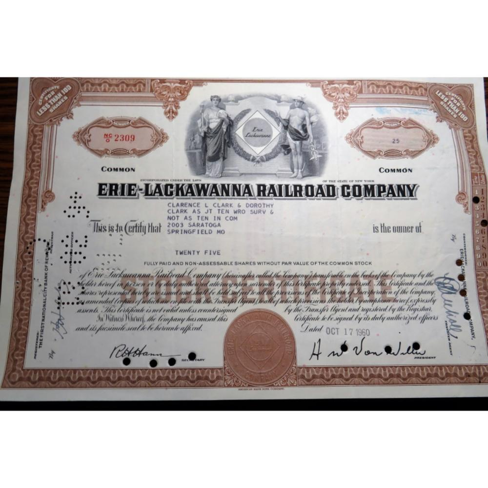 1960 Erie-Lackawanna Railroad Stock Certificate