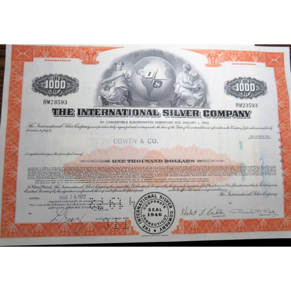 1972 International Silver Co. Stock Certificate