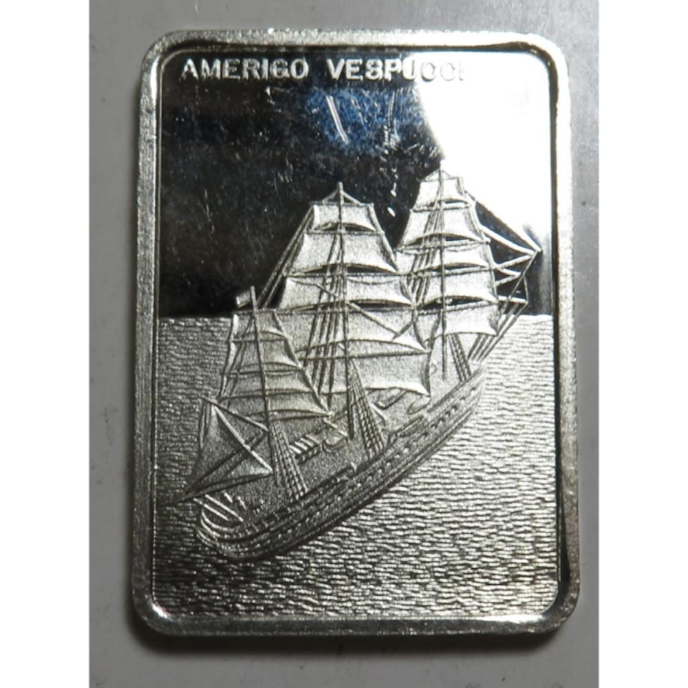 1 oz Silver Ship Bar Amerigo Vespucci