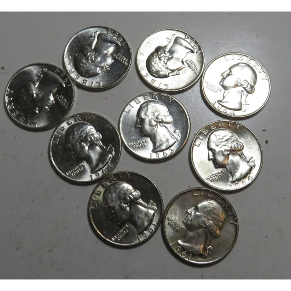 9 pcs. High grade 90% Silver Washington 25c