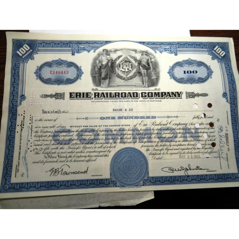 1955 Erie Railroad Stock Certificate