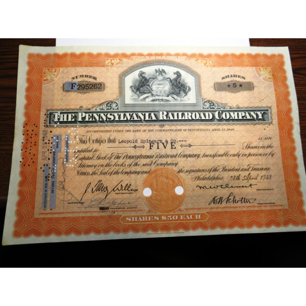 1948 Pennsylvania Railroad Stock Cert. w/stamps