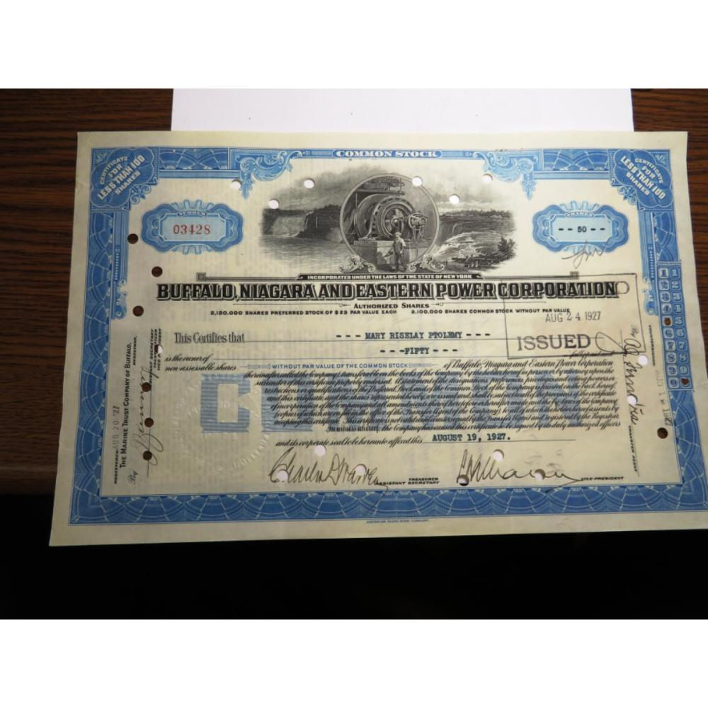 1927 Buffalo Niagra Power Co. Stock w/stamps
