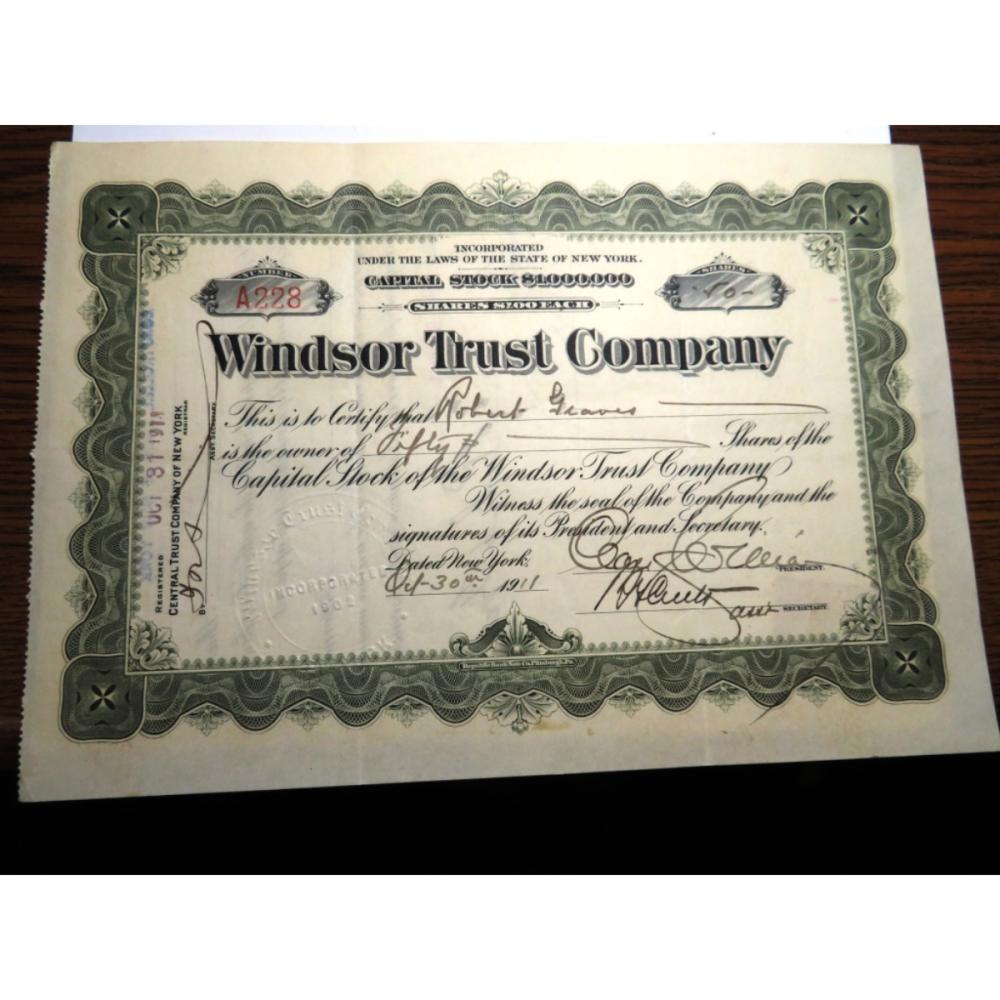 1911 Windsor Trust Co. Stock Certificate/Stamp