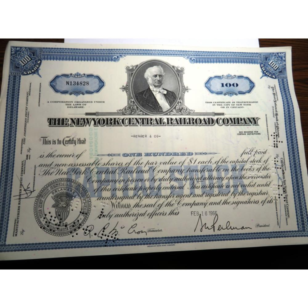 1966 New York Central Railroad Stock Certificate