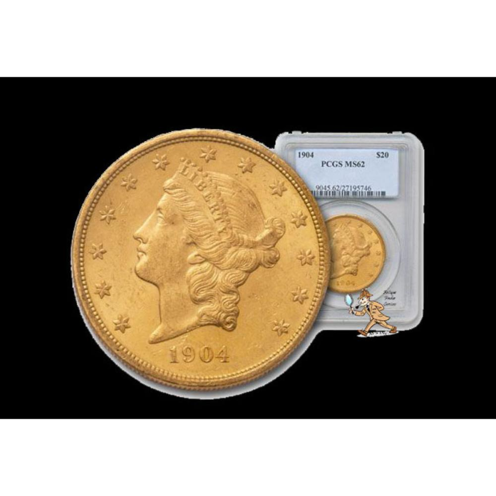 1904 MS62 PCGS $20 Gold Liberty Double Eagle