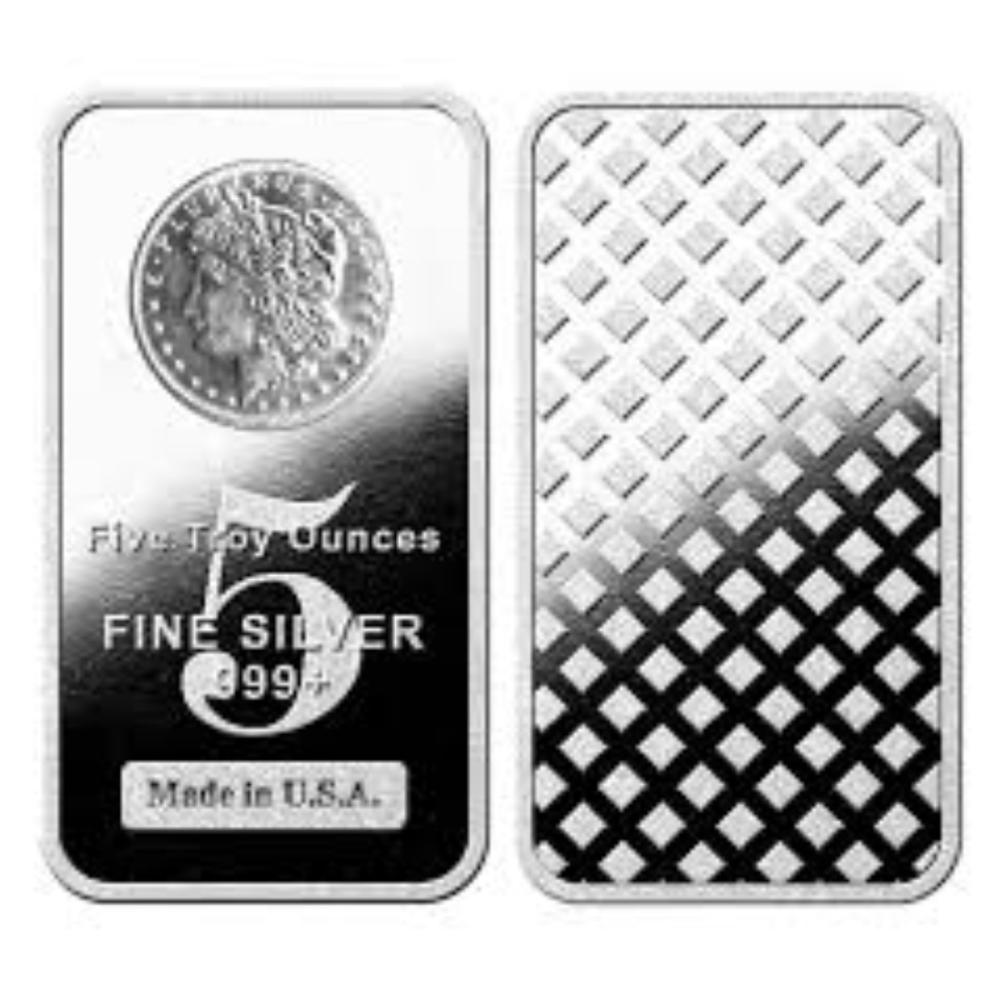 5 oz. Silver Bar w/ Morgan Silver Dollar Design