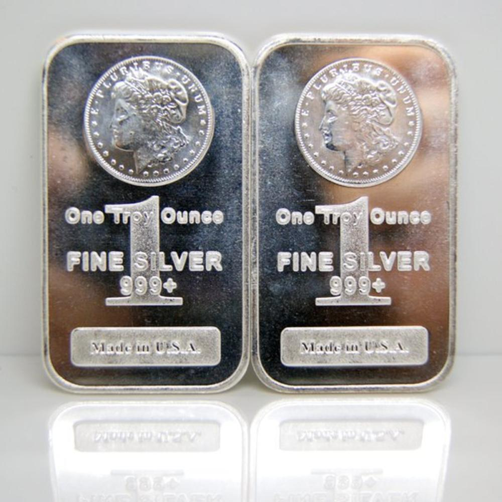 2 pc. Lot of Morgan Design 1 oz. Silver Bars