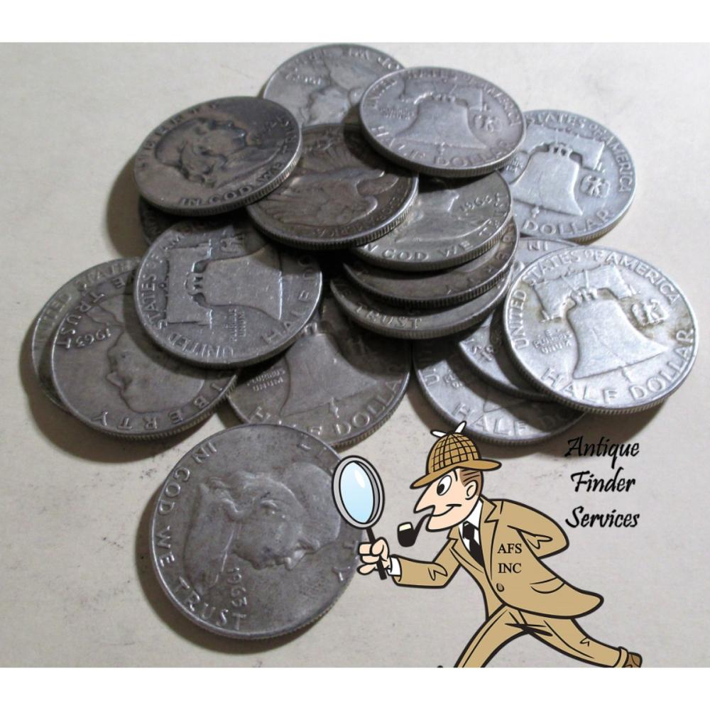 20 pcs. Franklin Half Dollars -90% Silver Mix Date