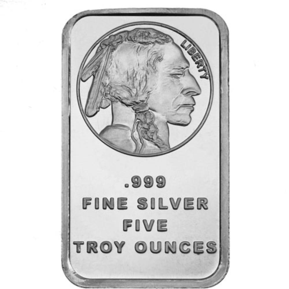 5 oz. Buffalo Design Silver Bar
