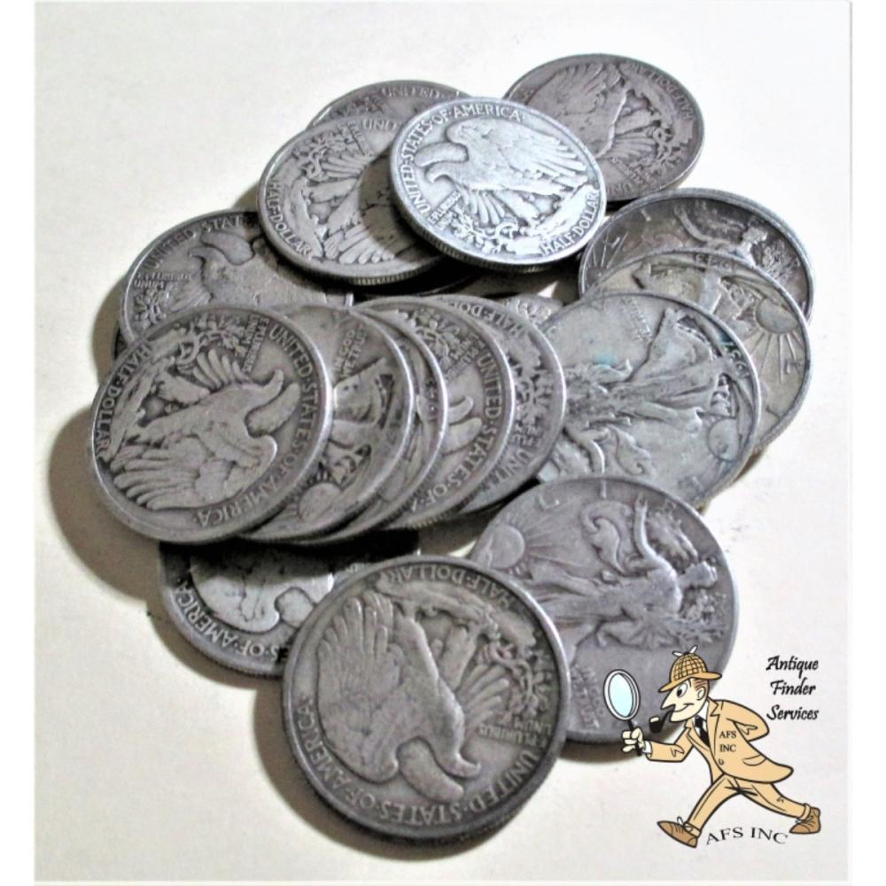 20 pcs. Walking Liberty Half Dollars 90% Silver