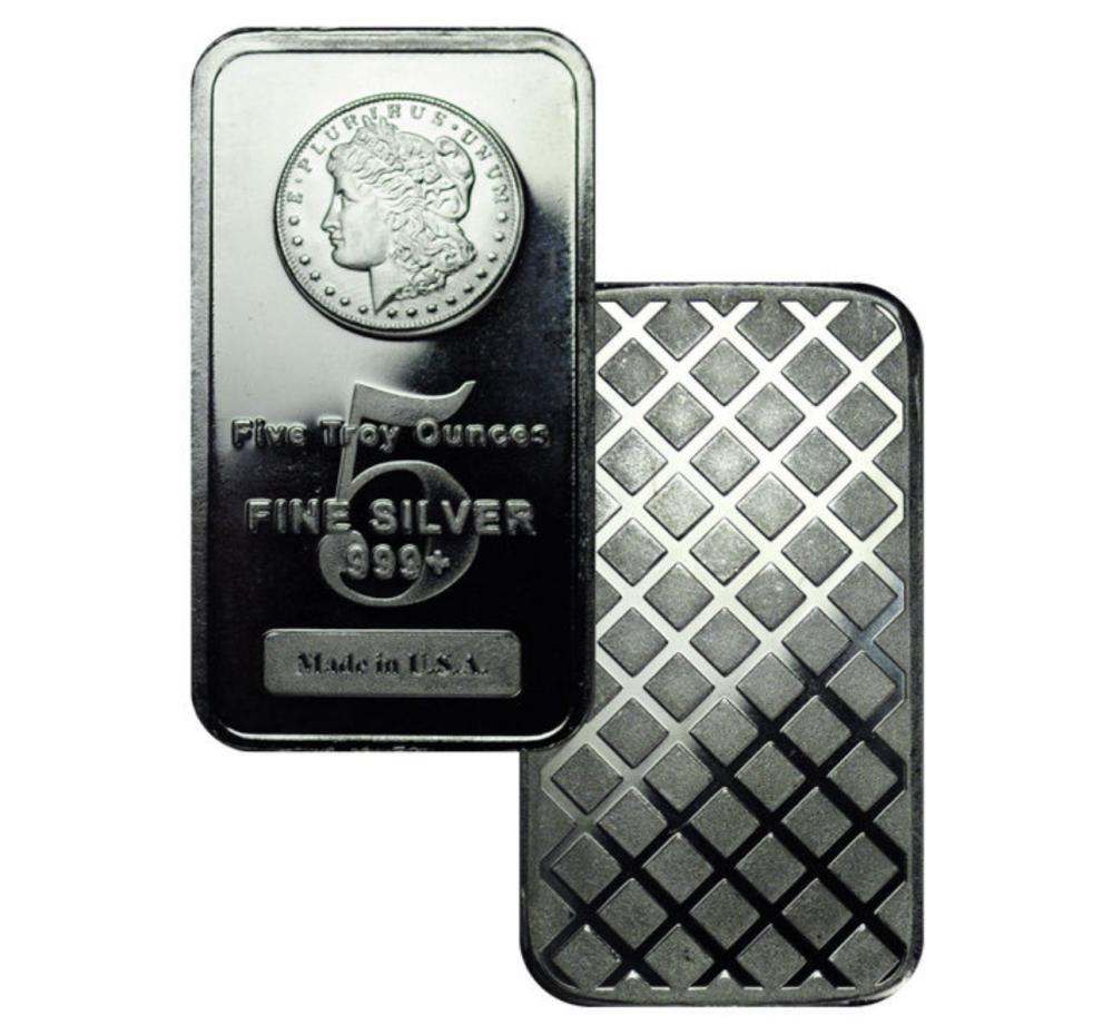 5 oz. Silver Morgan Design Bar- .999 Pure