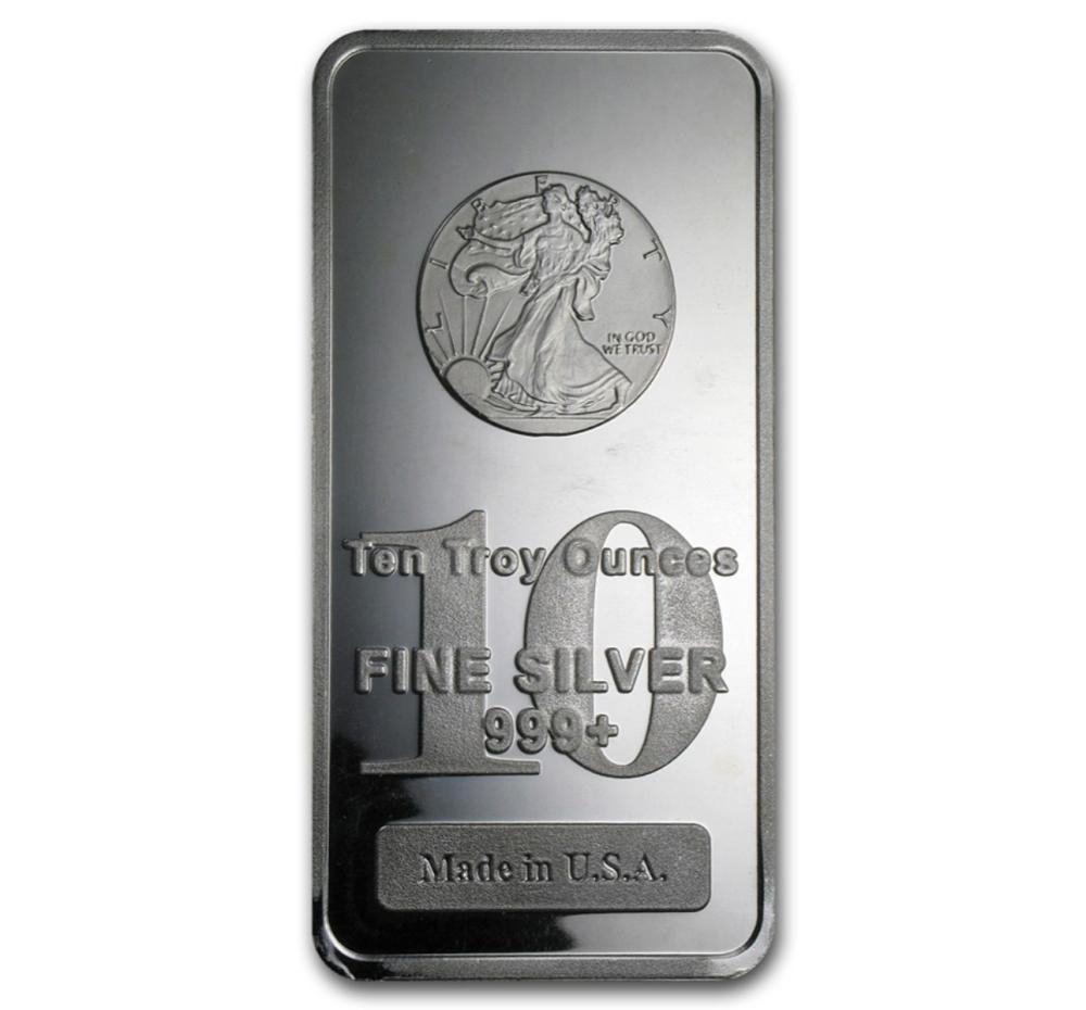 10 oz. Walking Liberty Bar -.999 Pure