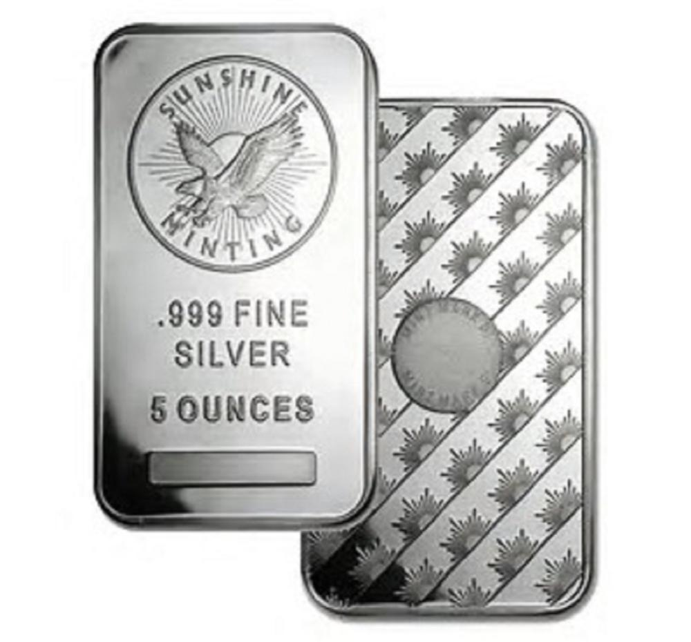 5 oz. Sunshine Silver Bar -.999 Pure