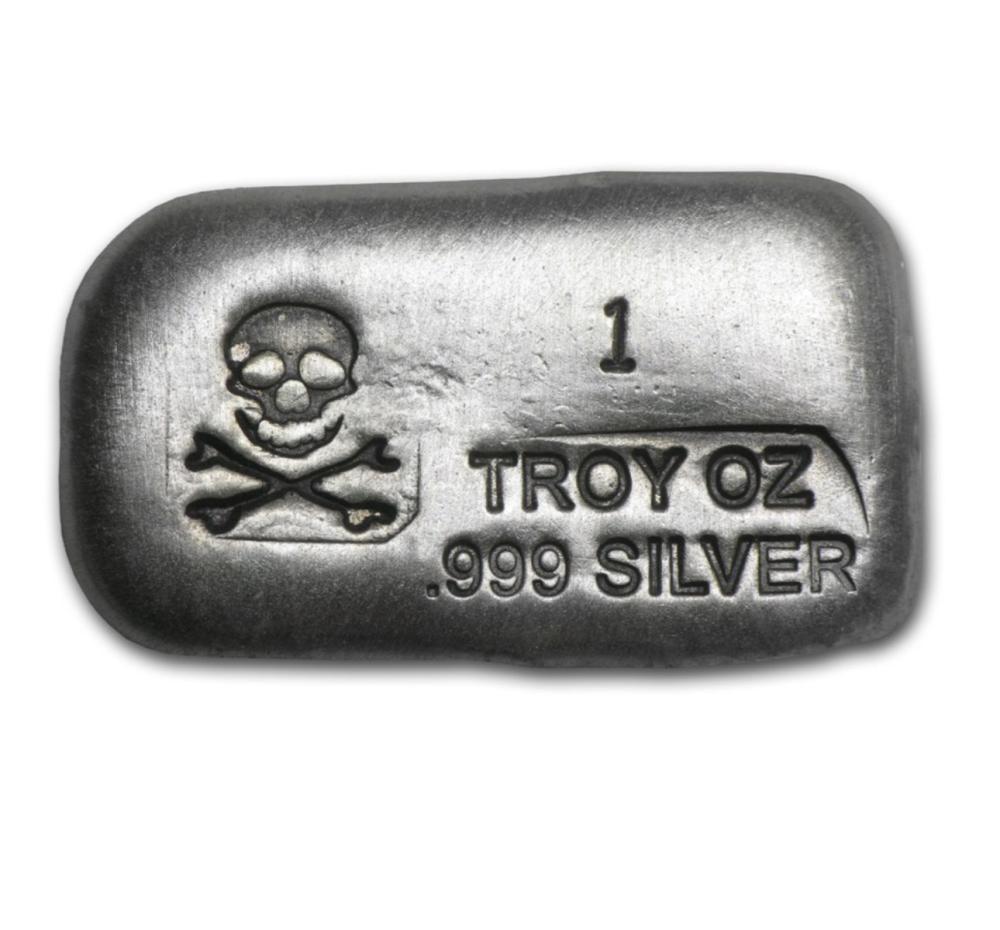1 oz. Silver Poured Bar - Skull and Crossbones