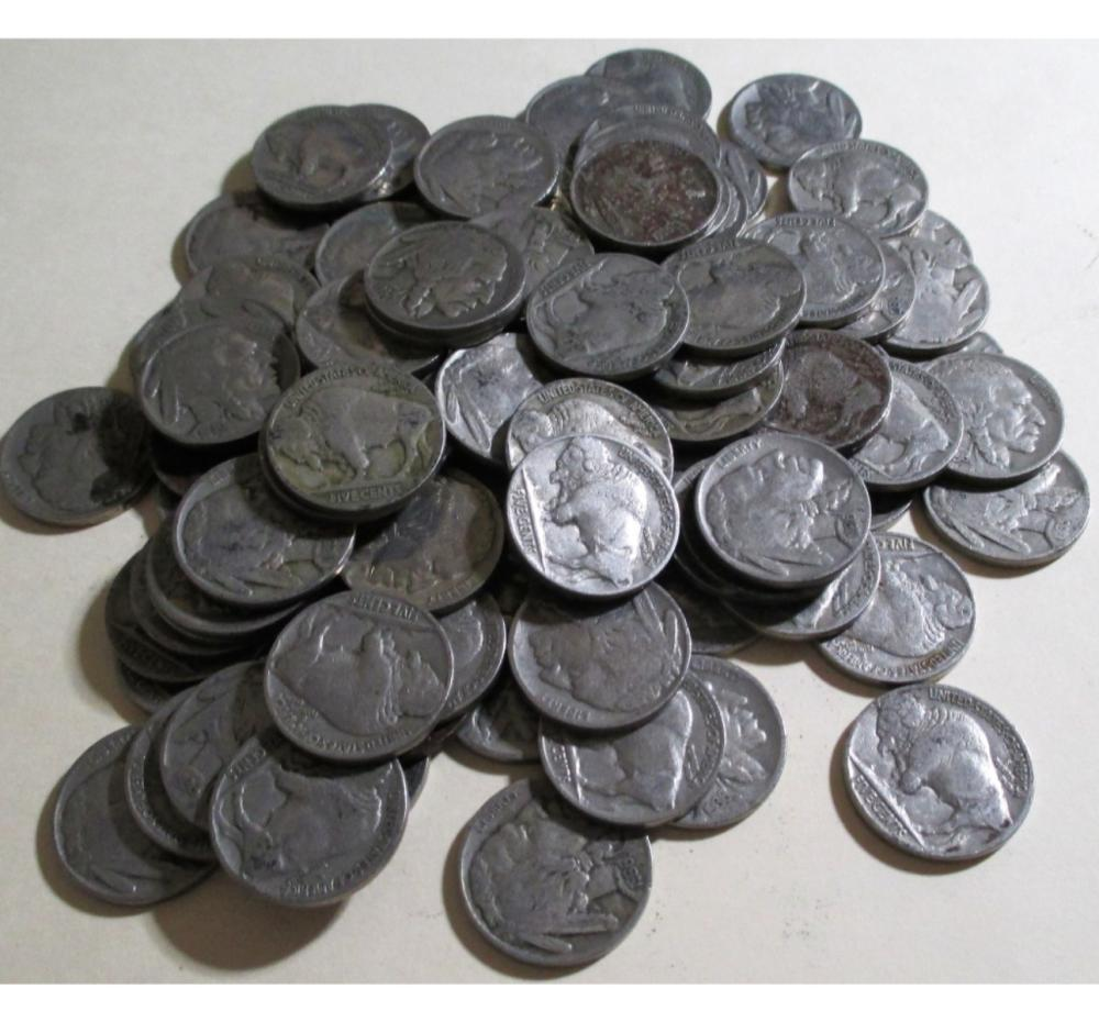 (100) Buffalo Nickels Various Dates and Grades