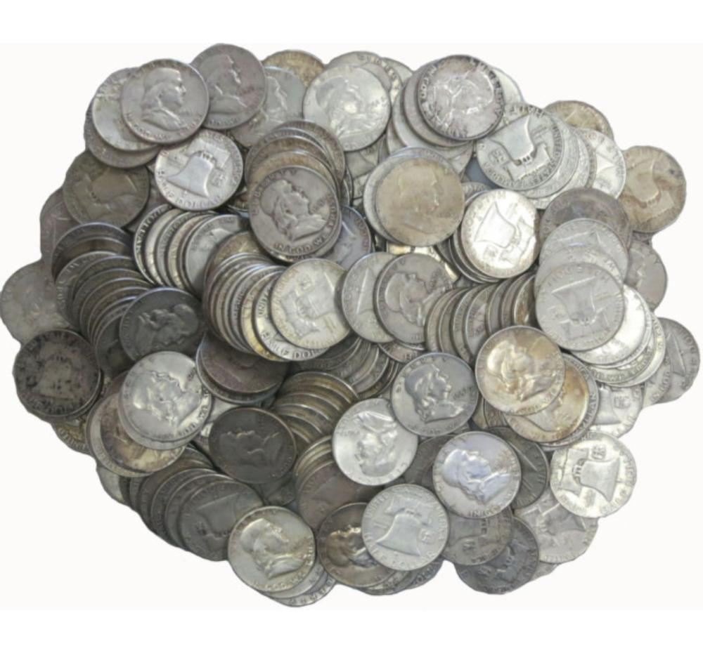 (50) Franklin Half Dollar -90% Silver