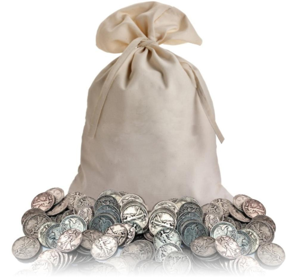 Canvas Bank Bag of 300 Walking Liberty Halves