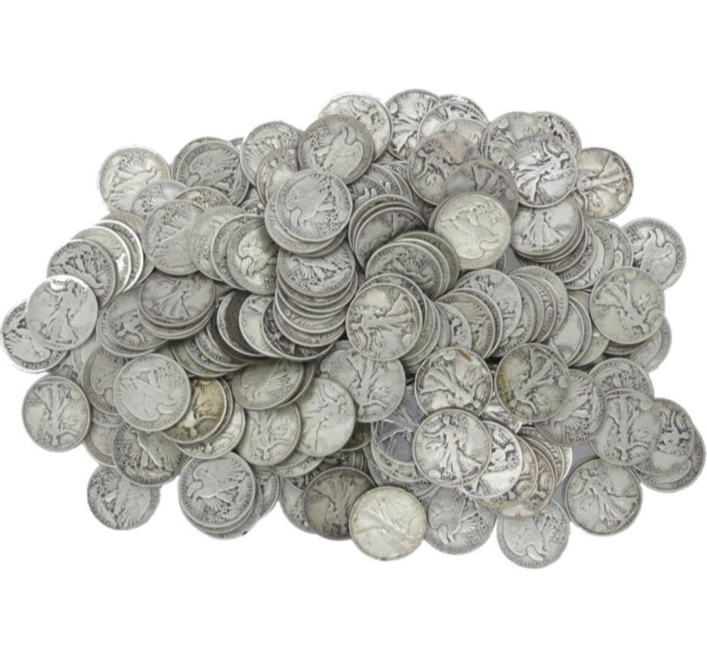 155 Walking Liberty Half Dollars- 90% Silver