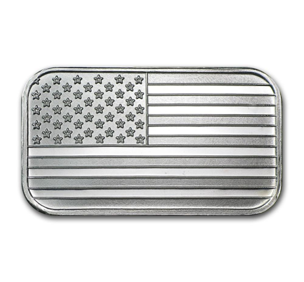 1 oz Silver American Flag Design Bar -.999 Pure
