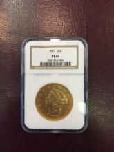 1861 CIVIL WAR XF 45 NGC $20 Gold Double Eagle
