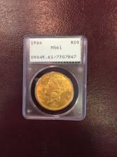 1904 MS 61 PCGS $ 20 Gold Double Eagle
