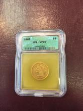 1843 VF 30 ICG $ 5 Gold Liberty