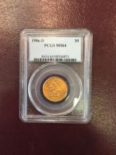 1906 D MS 64 PCGS $ 5 Gold Liberty