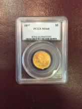 1897 MS 64 PCGS $ 5 Gold Liberty