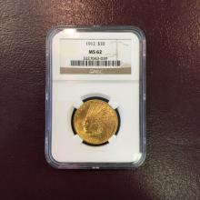 1912 MS 62 NGC $ 10 Gold Indian