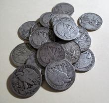 Lot of (20) Walking Liberty Half Dollars- 90% Sil.